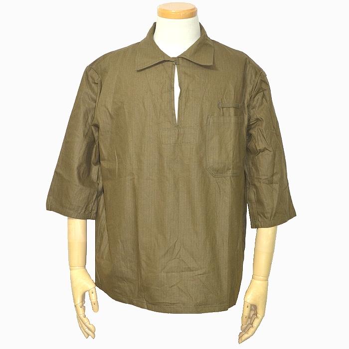 チェコ軍 HBT 七文袖 プルオーバーシャツ 80sチェコ軍実物 ブラウン Lサイズ 未使用・新品の商品画像