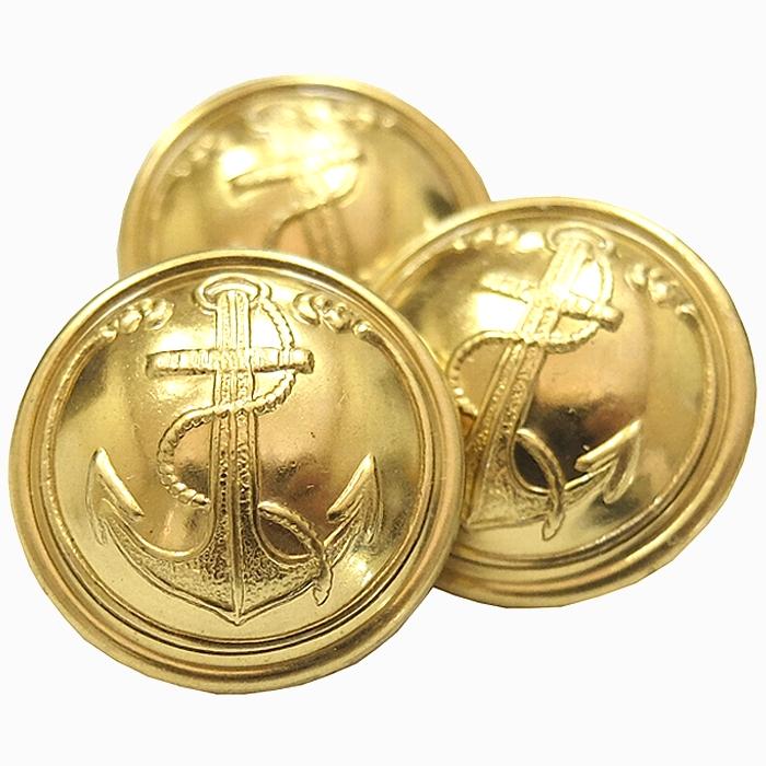 50sアンティーク フランス海軍 金属製金ボタン 直径2cm・5個セット 未使用・新品の商品画像