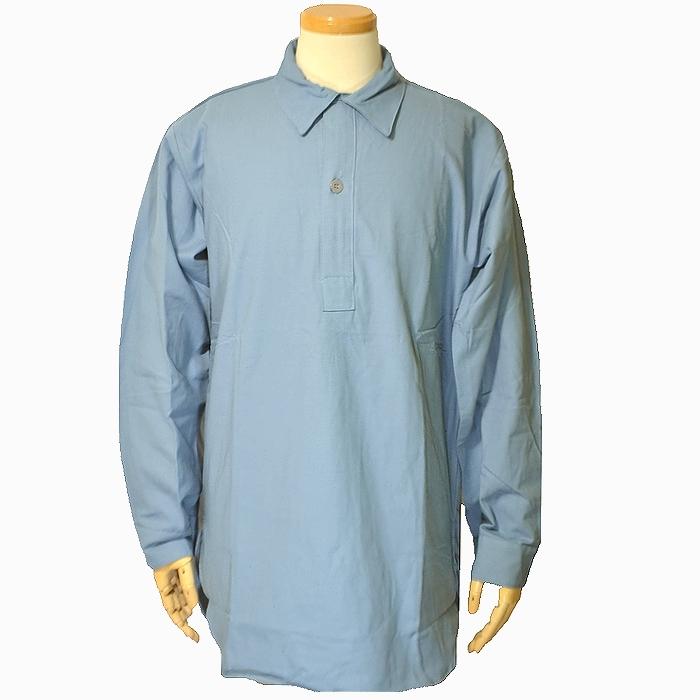 スウェーデン軍実物 M59グランパシャツ(プルオーバーシャツ)サックスブルー M〜XLサイズ 未使用・新品の画像