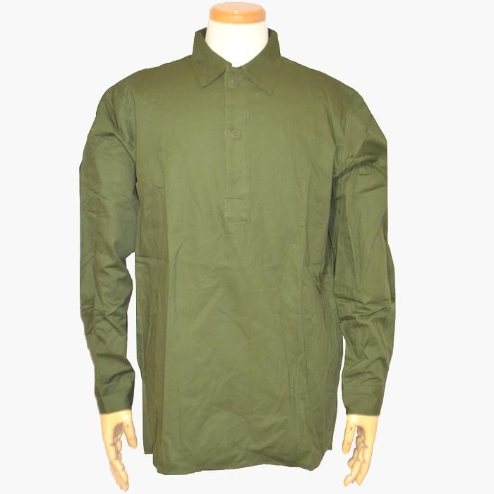 80s スウェーデン軍 コットン製プルオーバー フィールドシャツ(グランパシャツ) Lサイズ 未使用・新品の画像
