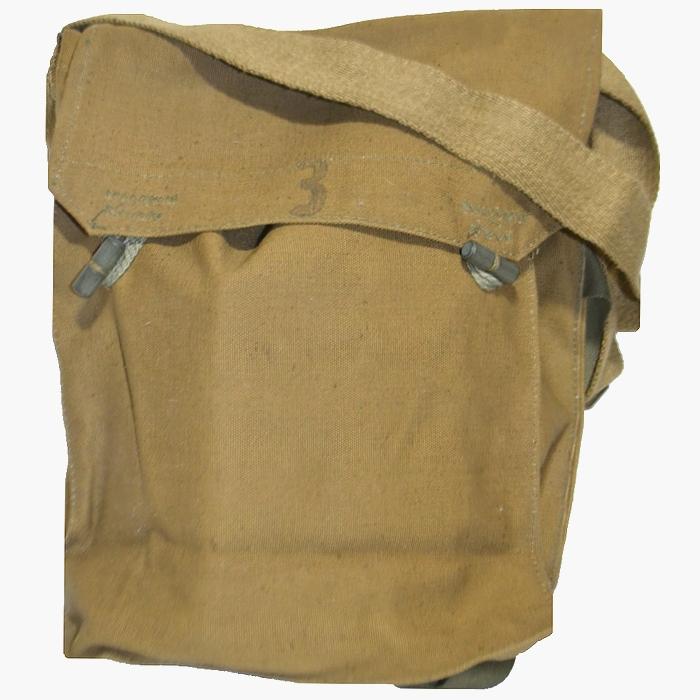 未使用 60sチェコ軍ガスマスクショルダーバッグ 男女兼用ミリタリーバッグ 帆布製トグルボタン仕様 カーキカラーの画像
