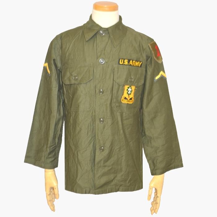60sビンテージ 米軍 OG.107 コットンサテンシャツ 初期モデル オリーブグリーン Mサイズ USED品の画像