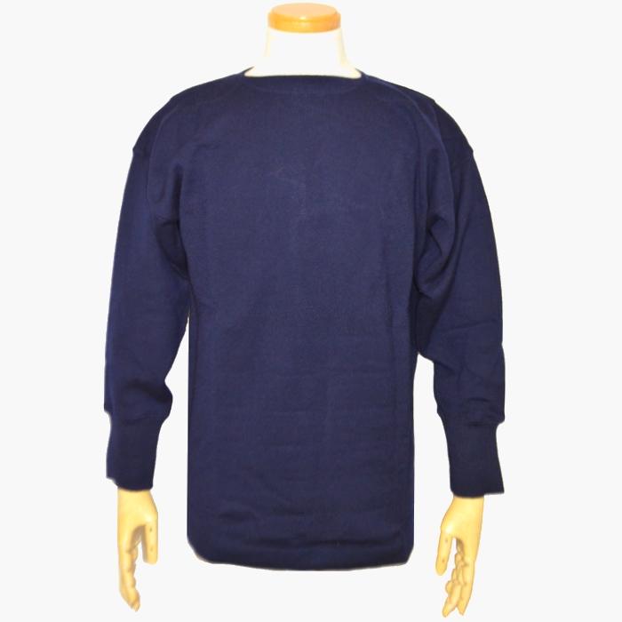 イタリア軍 ウール製ボートネックセーター ネイビー Lサイズ 未使用品の画像