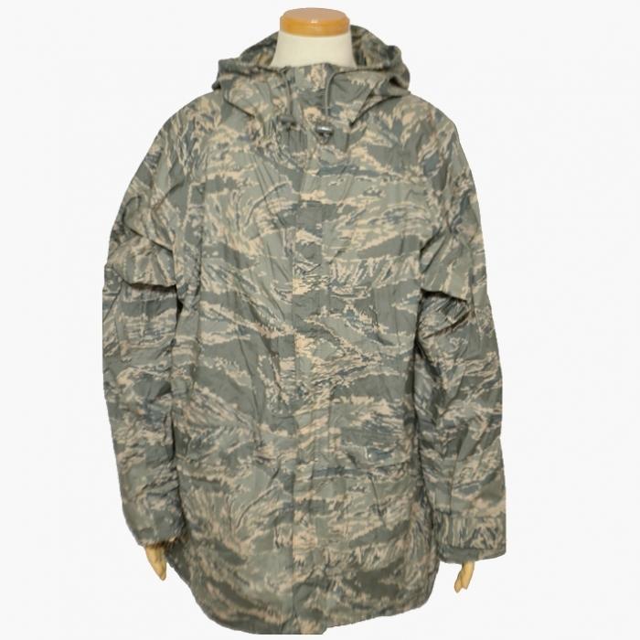 米空軍(USAF)ABU デジタルタイガーカモ レインスーツ フリーサイズ USED良品の画像