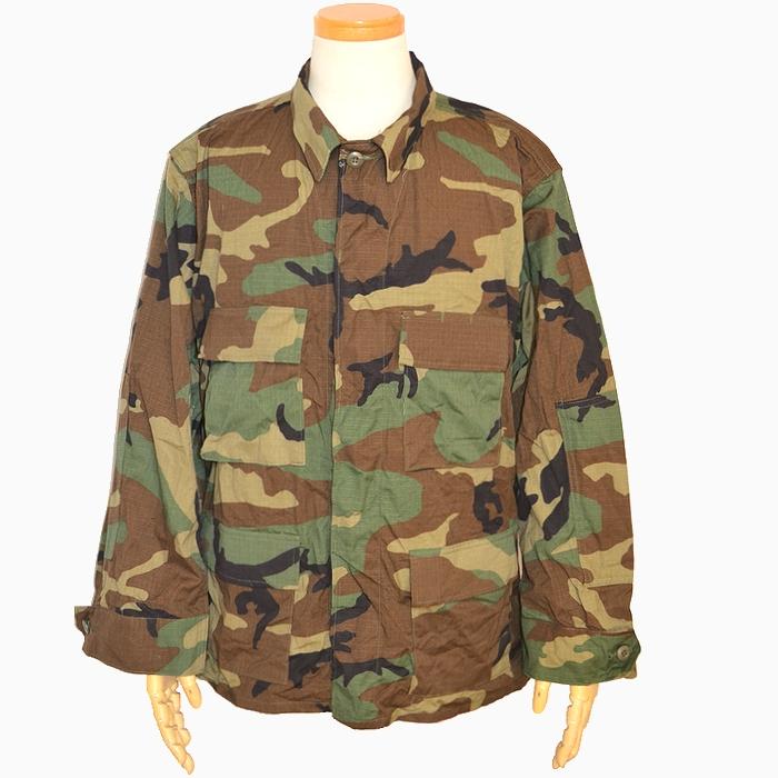 【大きいサイズ】米軍実物 ウッドランドカモ BDUジャケット / リップストップ生地 L-S(3Lサイズ) USED極上品の画像