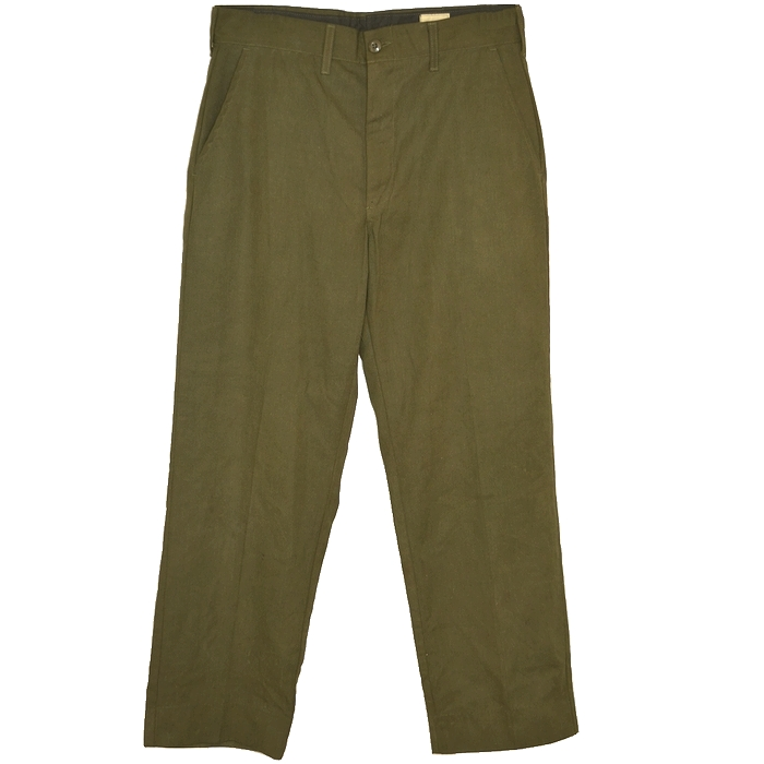 70s 米軍 TROUSERS, MENS FIRE-RESISTANT ARAMID ワークパンツ / 難燃・耐熱アラミド繊維 オリーブ 34インチ(86cm) USED品の画像