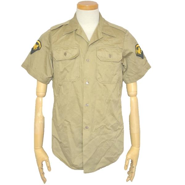 70s 米陸軍(US ARMY)実物 半袖チノシャツ / 特殊技能兵パッチ付き カーキ Sサイズ USED良品の画像