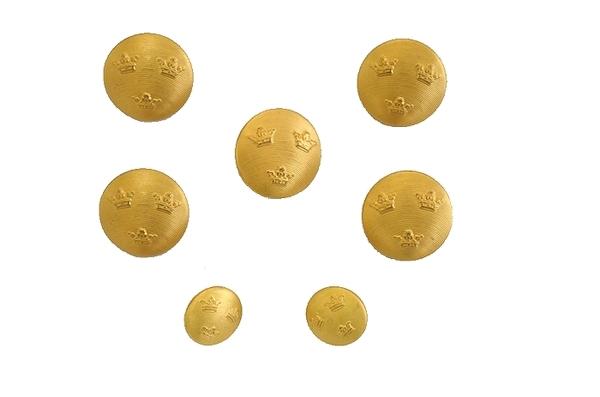 60sビンテージ スウェーデン軍実物 ドレスジャケット用メタルボタンセット / アンティークボタン・ゴールド・金属製 USED極上品の画像