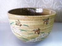 稲穂にすずめ抹茶碗