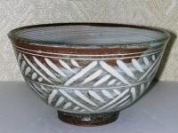 干支茶碗 彫三島 イノシシ