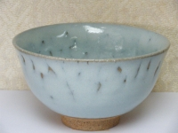 抹茶碗 まだら唐津(釉薬多め 珍しい薄青色)   6000円(税込価格¥6480)