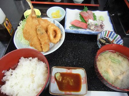刺身とフライ定食@かねき