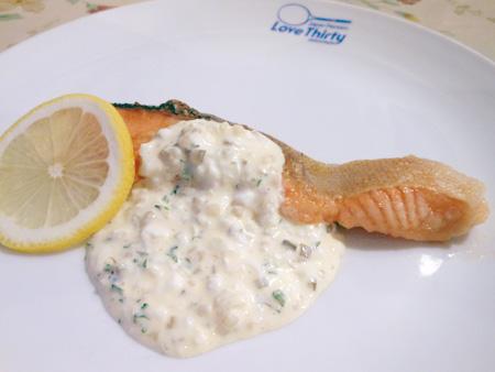 ペンションラブサーティの夕食 サーモンのタルタルソース