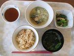 22昼鯖おろし煮・胡麻和え・若布麩味噌汁・かやくご飯
