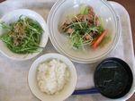 23昼生姜焼き・水菜雑魚サラダ・若布葱スープ