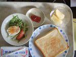 25朝ジャムトースト・ゆで卵・水菜サラダ・牛乳・林檎