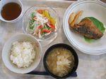 25昼鯖唐揚・サラダ(水菜・パプリカ)・味噌汁(白菜・えのき)
