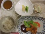 27夜エビフライ・ポテトサラダ・キウィ林檎