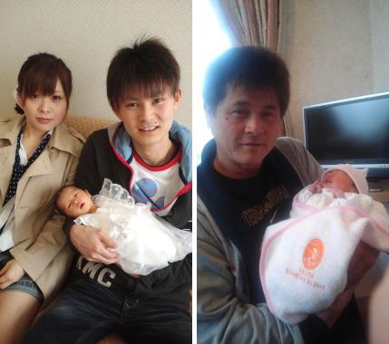 堀さんにすごく似ている息子さんとお嫁さん。右が、初孫ちゃんを喜ぶ堀さんです。堀さん!おめでとうございます!!