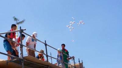 祝!上棟式!-餅まき式-|福岡県田川市の木造りの家