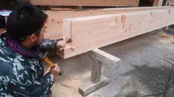 建て方前に!|玄関・浴室を共有 限られた敷地に実現した二世帯住宅-福岡県太宰府市-