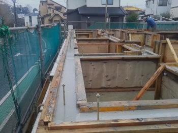 基礎工事|セルロースファイバーを採用!吹抜けのある長期優良住宅-福岡県筑紫野市-