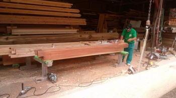 上棟式に向けて工場では|大分県日田市の木造りの家
