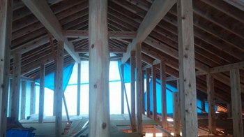 大屋根の小屋組み|こんな家に住みたい!夢をかなえた本物の自然素材の家-福岡県糟屋郡-
