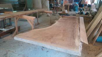 テーブル兼座卓の天板!|こんな家に住みたい!夢をかなえた本物の自然素材の家-福岡県糟屋郡-
