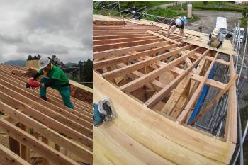 屋根仕舞い!|ついに夢実現!由布岳を望む終の棲家-大分県由布市-木造りの家フォーユー