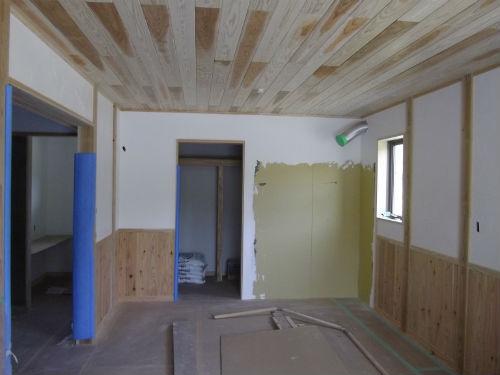 施工中1階寝室壁