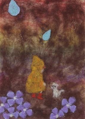 猫と雨と女の子