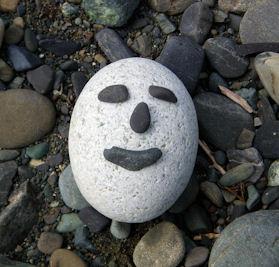 石で福笑い