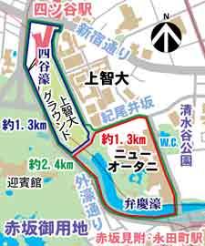 外濠 (江戸城外堀) 四谷濠・弁慶濠の周辺MAP