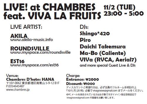 LIVE! Chambres D'hotes HANA meets Viva La Fruits