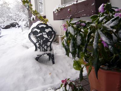 初雪玄関前