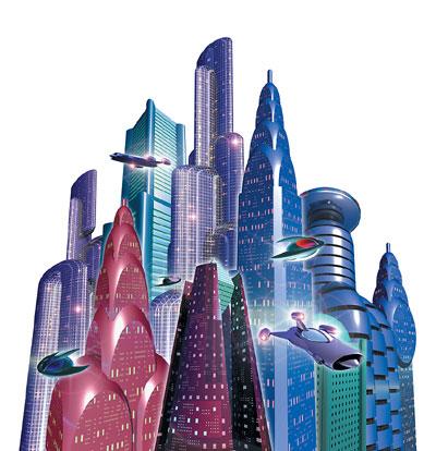 3Dイラスト-ビル群
