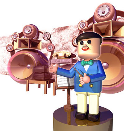 3Dイラスト-高級オーディオ家族