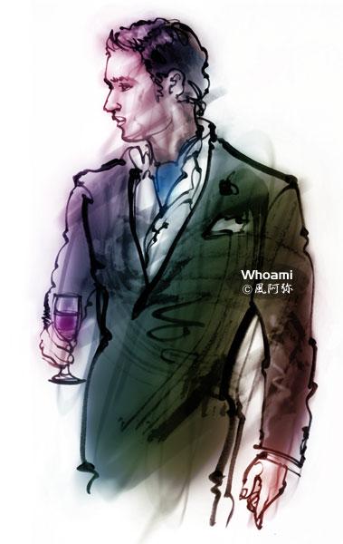 ワイングラスを持つ男イラスト