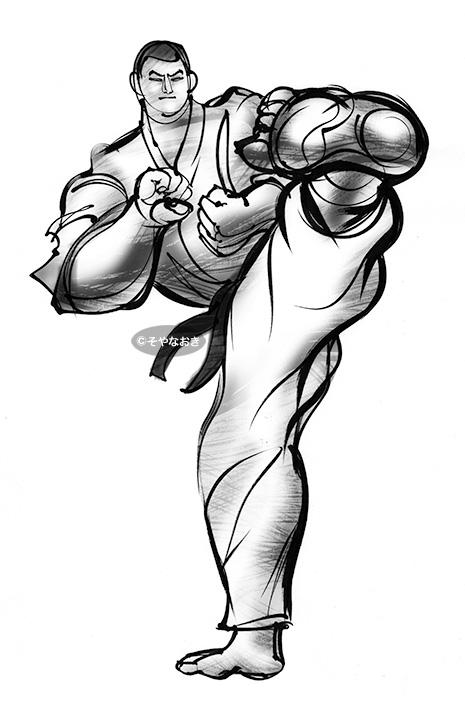 空手・前蹴り男モノクロ