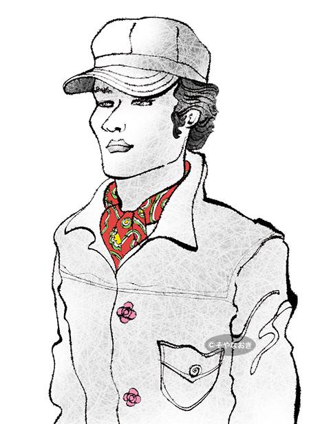 ピープル、帽子とスカーフの男