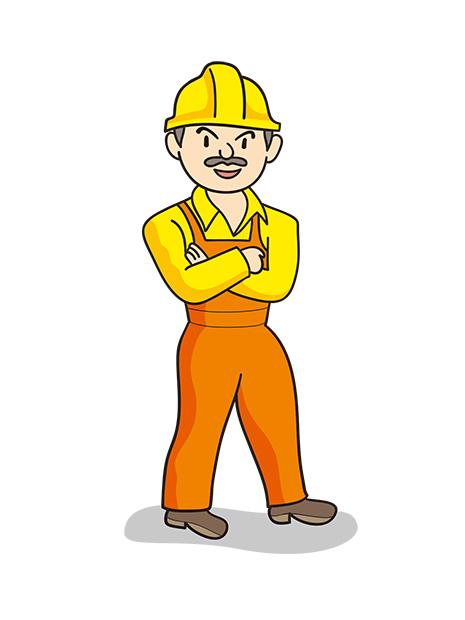 ワーカー、工事ヘルメットの男