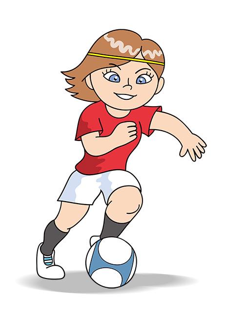女子サッカー選手、ドリブル