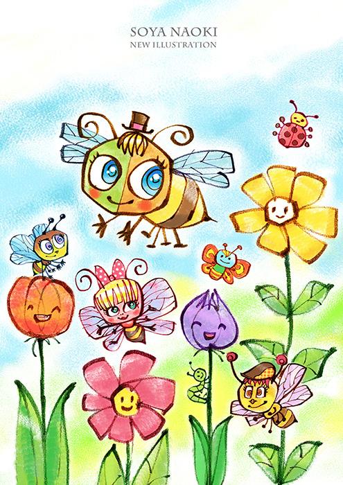 ハチとお花畑