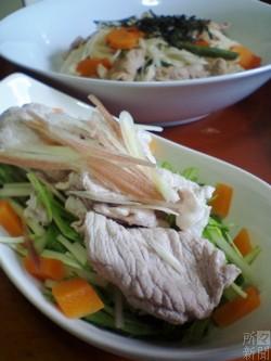 茗荷と水菜の冷しゃぶサラダ