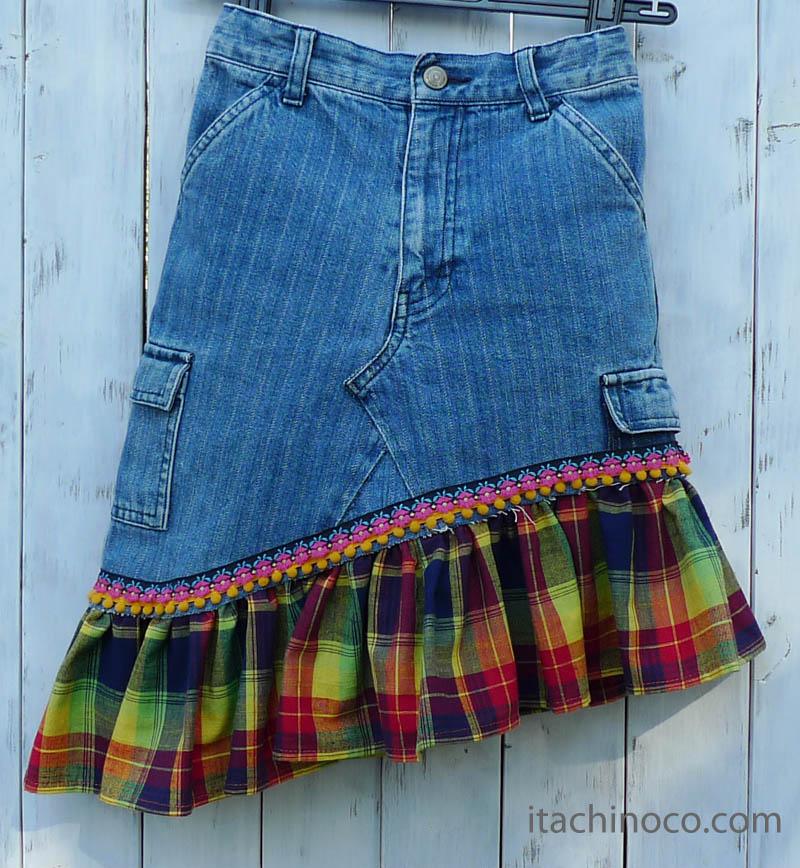 女の子ジーンズリメイクスカート120