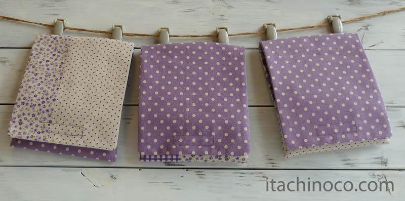 外付けポケット 紫小花チェックドットclose