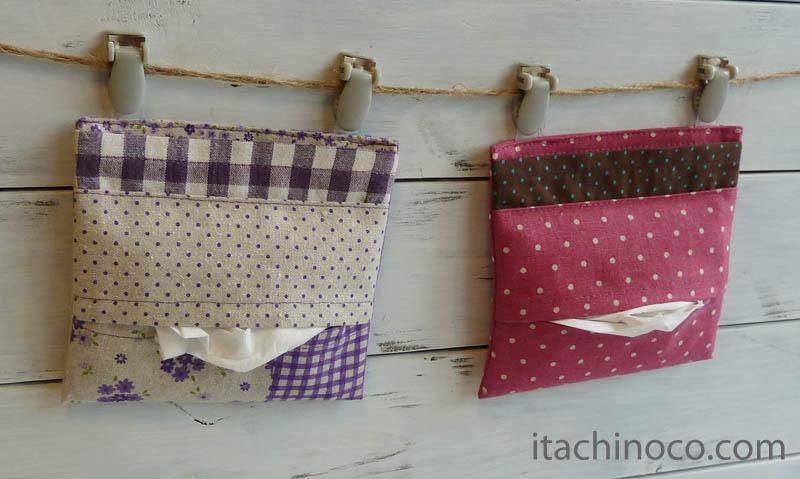 外付けポケットミニ 紫パッチワーク風とラズベリーチョコミント