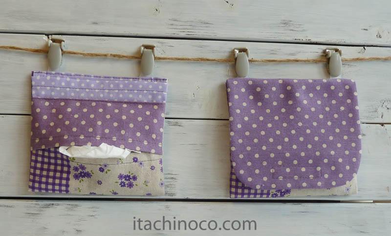 外付けポケットミニ 紫綿麻パッチワークプリント フタドット