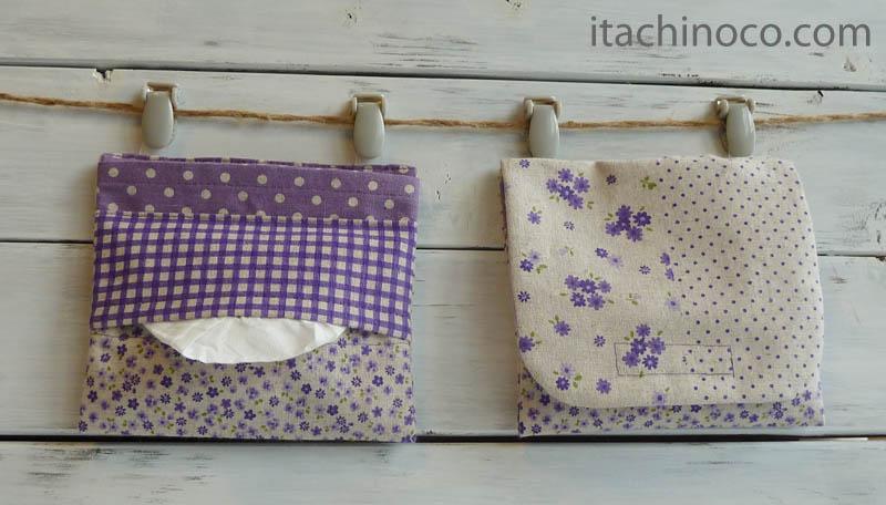外付けポケットミニ 紫綿麻パッチワークプリント フタ花チビチビドット